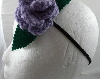 Jo Grant - Crocheted Rose Headband - Lavender Fuzzy (SWG-HH-DWJG01)