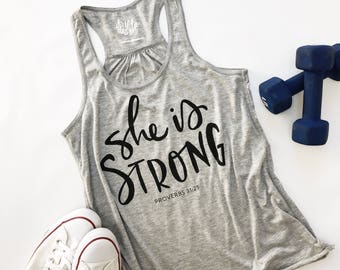 She is Strong Handlettered Heather Grey Active Ladies Flowy Racerback Tank | Fitness Tank | Scripture Verse