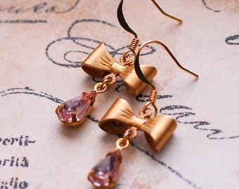 18k Matte Gold Earrings, Pink Earrings, Black Earrings, Old Hollywood Glam Bow-tie Earrings, Black and Gold, SRAJD, JewelryFineAndDandy