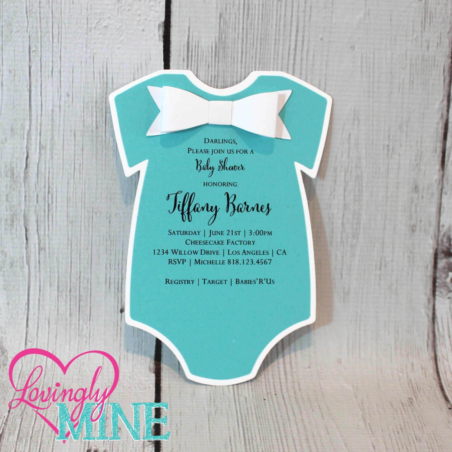 Baby Shower Invitations Set of 10 One Piece Body Suit with