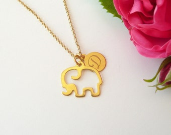 Personalized necklace: elephant - customized initials necklace - hand engraved initials necklace, monogram - personalized gift, letter