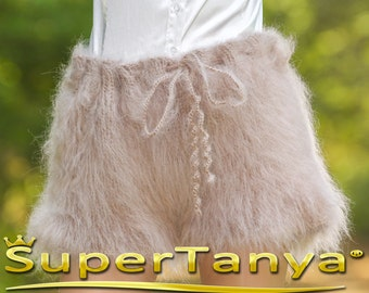 Made to order hand knit shorts, thick and fuzzy mohair short pants in pale beige by SuperTanya