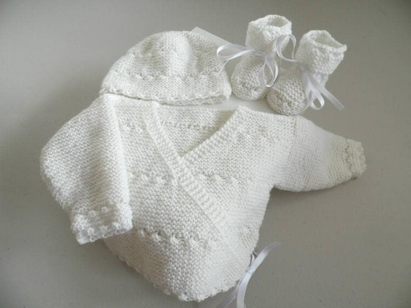 Life Jacket Baby Wrap With Hat And Booties Hand Knitted