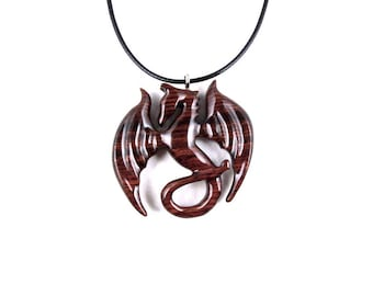 Dragon Necklace, Dragon Pendant, Dragon Jewelry, Wood Dragon Necklace, Wood Carved Dragon Necklace, Winged Dragon Necklace, Fantasy Jewelry