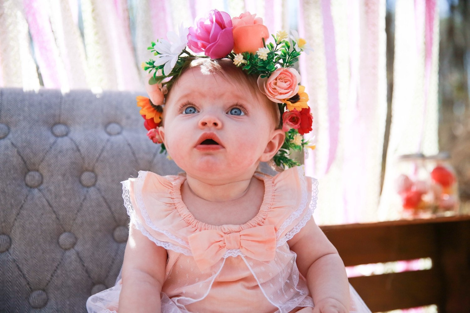 Kids flower crown little girls crown colorful baby crown zoom izmirmasajfo Gallery