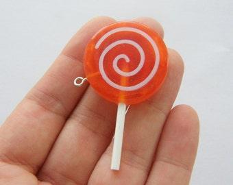 4 Lollipop orange pendants FD306