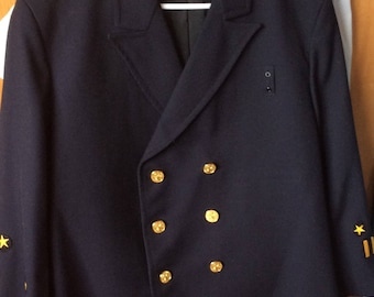 FIRE DEPT JACKET, vintage officers coat, deep navy, double breasted, costume, prop house