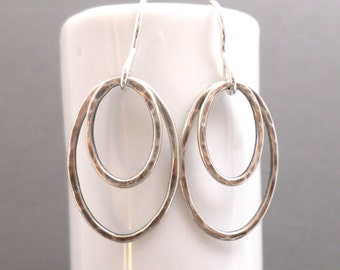 """Oval Earrings. Free Shipping. Hammered. Oxidized Sterling Silver Oval. Silver And Black. Rustic Earrings. Double Hoop Earrings. 1 1/4"""" Long."""