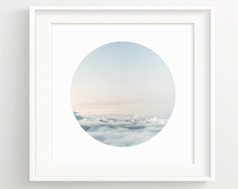 Circle Sky Print - White Border - Floating above clouds - Wall Art Print