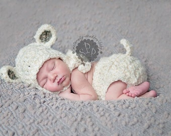 Newborn Baby Lamb Hat, Sheep Hat, Easter, Spring, Custom Made to Order