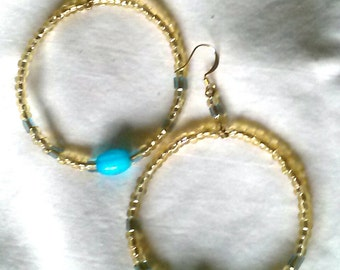 Topaz and Turquoise Bead Hoops