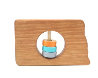 North Dakota State Baby Rattle™ - Modern Wooden Baby Toy - Organic and Natural