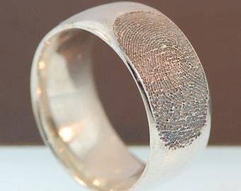 Personalized Unisex Fingerprint Sterling Silver band