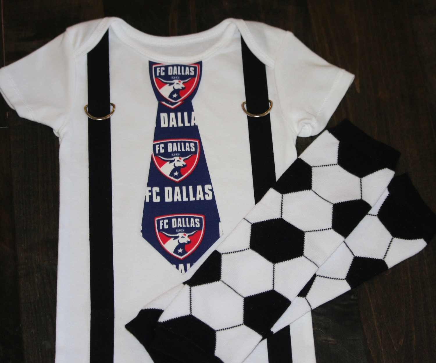 0a155a17a3b FC Dallas Tie and Suspenders Onesie or Toddler Shirt MLS