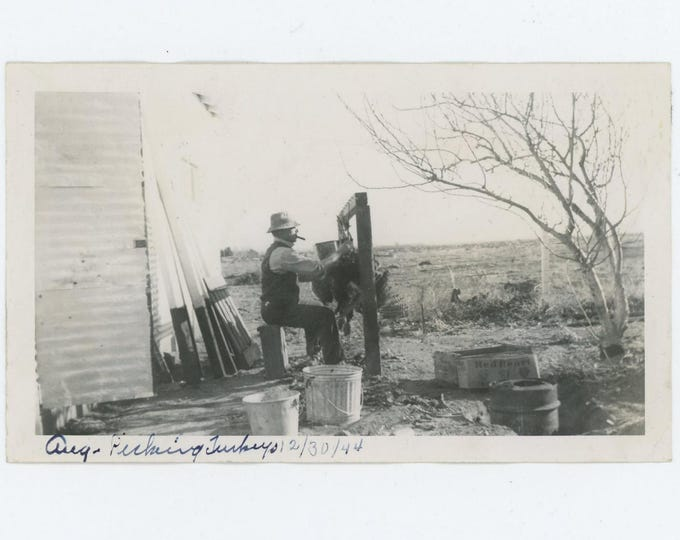 "Picking Turkeys, 1944"" Vintage Snapshot Photo (73558)"