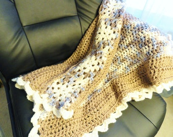 BLANKET SALE Granny Square Crocheted Coffee Afghan Toddler Blanket Office Couch Lap Throw Taupe, Creme Periwinkle Blue By Distinctly Daisy