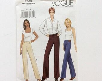 Vogue 7685, Women's Pants Pattern, Easy Pattern, Size 6, 8, 10, Uncut Pattern
