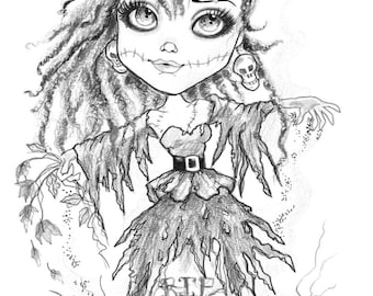 Adult Coloring Page-Grayscale Coloring Page-Printable Coloring Page Digital Download Halloween Fantasy Art Dead Prom Date by Leslie Mehl Art