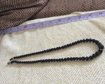 Use Code THANKS10  for 10% off ! Vintage black French or withby jet  bead necklace, in great condition, Art Deco