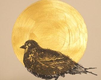 Poster bird linogravee rising sun gold 24 x 32 cm