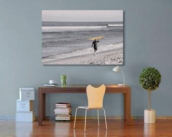 Surfer Wall Art, Beach Decor, Coastal Decor, Surfer Art, Malibu Beach Print, Surfer with Surfboard, California Beach Art, Large Wall Art,