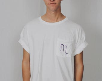 SCORPIO as is White Pocket Tshirt Embroidered Astrology / Zodiac