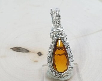 Sterling silver wire wrapped honey quartz