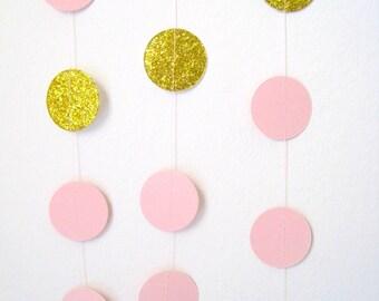 Pink Gold paper garland, metallic glitter Gold circles, pastel light pink birthday party decoration, gold pink wedding shower, bridal shower