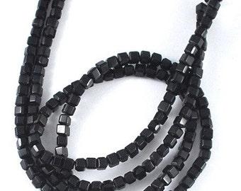100 x 4mm Crystal Glass Cube Beads - Sleek Black Glass Squares - GB5