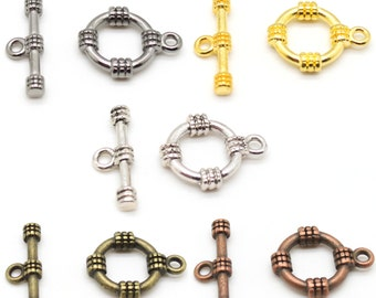 6 Sets Nautical Toggle Clasps - Nickel Free Alloy - Choose Silver, Gold, Bronze, Copper, or Gunmetal Black