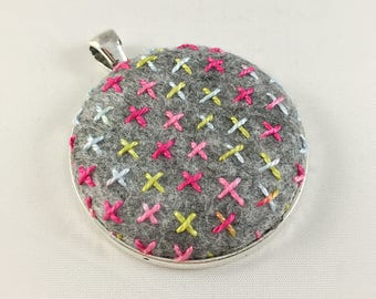 Crosses Embroidered Pendant