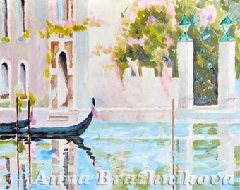 Venice-Italy-Art-oil painting-original Venice painting. Small romantic spring canal in Venice,2 gondolas, garden with blooming pink flowers.