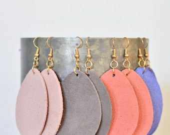 Large & Small Leather Teardrop Earrings: genuine leather essential oil diffuser style in blush, coral, grey and periwinkle, gold-look wires