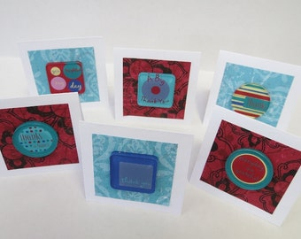 6 Mini Thank You Cards, Thank You Cards, Mini Cards, Gift Cards, Handmade Cards.