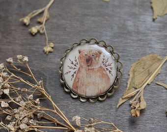 Brown Bear Brooch - Antique Brass Bronze - Brown Bear - Animal