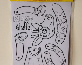 Momo the Giraffe - paper doll diy kit - coloring activity for all ages, kids and adults -  jumping jack