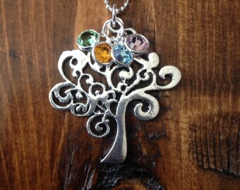Personalized Family Tree with Swarovski Birthstones