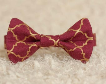Maroon and Gold Bow Tie, Metallic Gold Bow Tie, Mens Maroon Bow Tie, Boys Bow Tie, Groomsmen Bow Tie, Ring Bearer Bow Tie, Baby Shower Gift