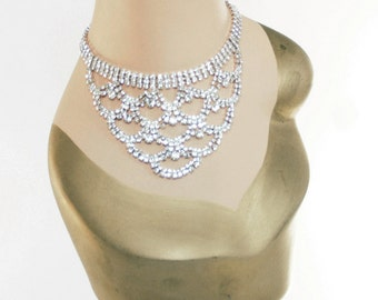 Czech Rhinestone Necklace - Silvertone Bib Style With Elegant Sparkling Clear Crystals - Free U.S. Shipping!