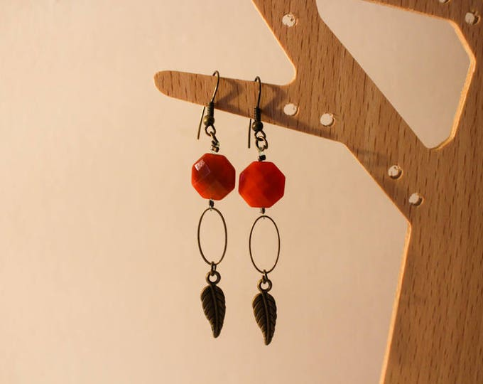 Clip earrings, octagonal vermilion orange agate bead, and finishes sheet brass, gift for her.