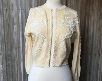1950s Ivory Beaded Cashmere Cardigan - Saks Fifth Avenue
