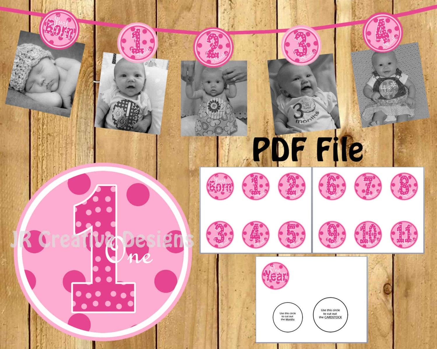 12 month Photo Birthday Banner Everything One Girl 1 year