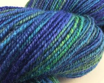 "Handspun Fingering Yarn ""Mermaid's Treasure"" BFL Silk 370 yards"