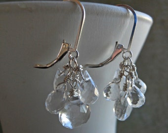 Rock Crystal quartz Icicle Earrings, Leverback clear earrings, sparkly earrings, teardrop, leverback earrings, gemstone earrings
