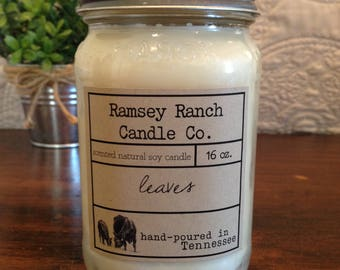 Hand poured scented soy candle - leaves - 16 oz - mason jar
