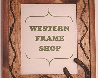 Handmade Wood Frame with Horseshoe and Barb Wire. Cowboy or Lodge Style Western Picture Frame. Rustic Horse Frame. Country Wedding