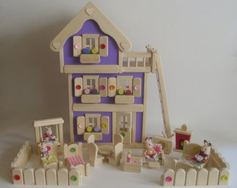 Wooden Deluxe 3-Storey Dollhouse, Doll furniture, Handmade Waldorf inspired Toy, Kids gift, Jacobs Wooden Toys 'LAVENDER DREAM'