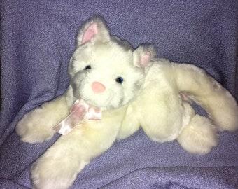 "Vintage Cat plush BJ Toy White Kitten Blue eyes Pink nose ears paws very soft shiney kitty 11"""