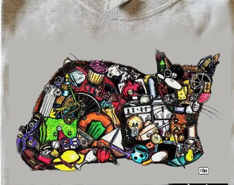 T-SHIRT: Cat - Art by bowlingART (NEW option in Color!!!)