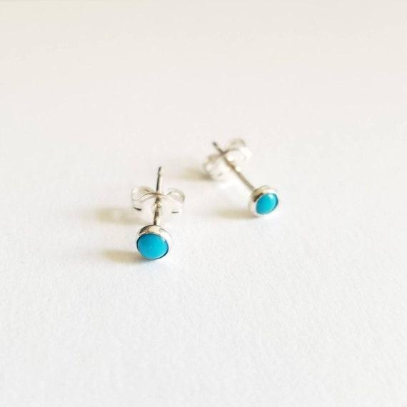 3mm Sleeping Beauty Turquoise Stud Earrings, Blue Earrings, Turquoise Post Earrings, Made in Canada, Simple, modern jewelry